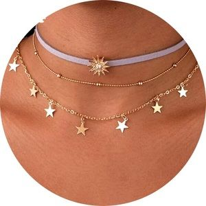 Triple layer golden star necklace